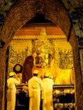 Mahamuni Buddha image face wash ritual, Mandalay, Myanmar 2 Royalty Free Stock Photo