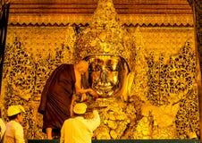 Mahamuni Buddha image face wash ritual, Mandalay, Myanmar 5 Royalty Free Stock Photo