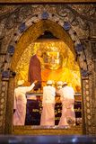Mahamuni Buddha Temple, Mandalay Myanmar - 25 July 2018: Washing royalty free stock photos