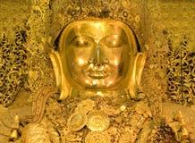 Mahamuni, große goldene Buddha-Statue Lizenzfreie Stockbilder