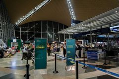 Mahan空气在吉隆坡国际机场的登记处柜台 库存图片