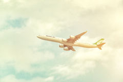 Mahan Air aircraft is taking off from DXB airport Stock Photo