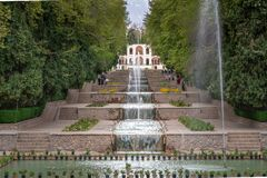 Free Mahan, Iran - 04.09.2019: Water Cascades Of Shahzadeh Mahan Historical Garden, Iran. Beautiful Persian Garden With Water Flowing Royalty Free Stock Image - 211498606