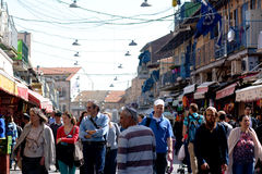 Mahane Yehuda Market in Jerusalem - Israel. JERUSALEM - MAR 24 2015:Mahane Yehuda Market in Jerusalem, Israel. It's a very popular marketplace with locals and Royalty Free Stock Photos