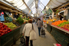 Mahane Yehuda Market in Jerusalem - Israel. JERUSALEM - MAR 24 2015:Mahane Yehuda Market in Jerusalem, Israel. It's a very popular marketplace with locals and Royalty Free Stock Image