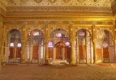Maharajah room inside Mehrangarh Fort,Jodhpur. Mehrangarh Fort, located in Jodhpur city in Rajasthan state is one of the largest forts in India Stock Images