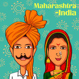 Maharashtrian par i traditionell dräkt av maharashtraen, Indien royaltyfri illustrationer