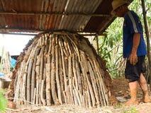 MAHASARAKHAM 28 THAILAND-APRIL: Hoe te om houten spaanders te branden, represen Royalty-vrije Stock Afbeelding