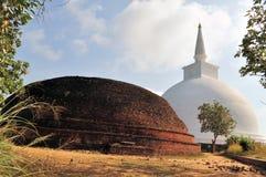 Mahaseya Dagoba, Mihintale, Sri Lanka. Ancient white Mahaseya dagoba next to ruined stupa on hilltop at Mihintale Monastery, Sri Lanka Stock Photography