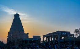 Mahashivratri 2019: Thanjavur Grote Tempel op zonsondergangachtergrond stock foto