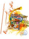 Mahataa Gandhi z zabytkiem i punktem zwrotnym India na Indiańskim dnia niepodległości świętowania tle ilustracja wektor