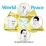 Mahatam甘地,达赖喇嘛,纳尔逊・曼德拉,马丁路德金 库存图片