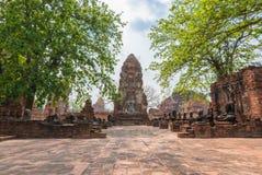 Mahathat di Wat, Ayutthaya, Tailandia Fotografie Stock Libere da Diritti