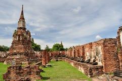 Mahathat tempel Ayuthaya Thailand Fotografering för Bildbyråer