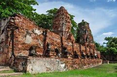 Mahathat tempel Ayuthaya Thailand Arkivfoto