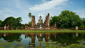 Mahathat temple in Sukhothai Historical Park, famous tourist attraction in northern Thailand. stock video footage