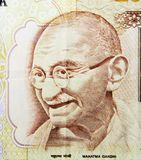 Mahatma Gandhi. On 500 rupees banknote from India Stock Images