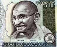 Mahatma Gandhi. On a 500 Rupee Indian note Stock Photos