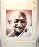 Mahatma Gandhi commemorated in Indian Stamp. Father of Nation of India, Mahatma Gandhi commemorated through a postage stamp released in World Philatelic Stock Image