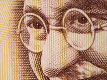 Mahatma Gandhi face on indian 500 rupee banknote extreme macro, Royalty Free Stock Image