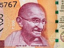 Mahatma Gandhi face portrait on India 200 rupee 2017 banknote Stock Photos