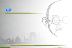 Mahatma Gandhi on Indian City scape. Illustration of potrait of Mahatma Gandhi on Indian monument tricolor background Stock Images