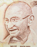 Mahatma Gandhi. Macro shot of Indian Currency with details of  Mahatma Gandhi's picture in Denomination 500 rupees Stock Photos