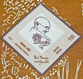 Mahatma Gandhi's postage stamp on Khadi. Indian postal department released a special postage stamp commemorating Mahatma Gandhi,by printing the stamp on a piece Royalty Free Stock Image