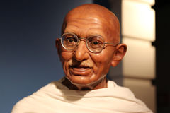 Mahatma Gandhi wax statue. Waxwork statue of Mahatma Gandhi, the preeminent leader of the Indian independence movement in British-ruled India, in the Madame Stock Photography