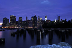 Mahattan (NYC) by night. View of the skyline of manhattan from brooklyn at dusk Stock Photography