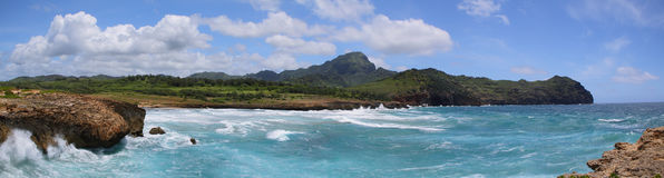 Mahaulepu trail near  Poipu, Kauai. Panorama from mahaulepu trail near  Poipu, Kauai , hawaii Royalty Free Stock Photo