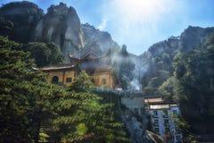 Mahavira Hall en la montaña de Jiuhua Fotos de archivo libres de regalías
