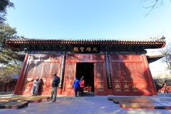 Mahavira-Halle von fayuansi Tempel im Winter, luftgetrockneter Ziegelstein rgb Lizenzfreie Stockbilder
