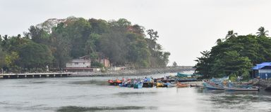 Mahe, India. Mahe is surrounded by Kerala, eventhough it is part of the union territory of Pondicherry, near Tamilnadu, India. The Mahe river empties itself into Stock Photo