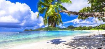 Mahe Mahe海滩  免版税图库摄影