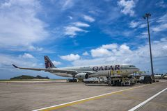 MAHE, SEYCHELLES - OCTOBER 4, 2018: Qatar Airways Plane at Mahe airport in Seychelles. Qatar Airways is included in the list of stock image