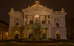 Mahen Theatre in Brno at night before Christmas, front view. Mahen Theatre in Brno is part of National theatre, an old historical public building. It is pleasure royalty free stock images