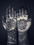 Mahendi design indian celebration culture costom married woman hands stock photo