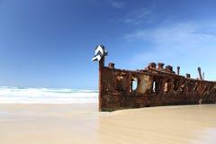 Maheno海难,弗雷泽岛,昆士兰,澳大利亚 图库摄影