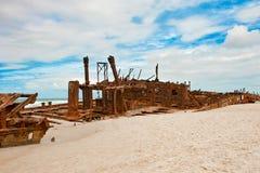 Shipwreck Maheno Fraser Island, Australia. Shipwreck and dramatic sky stock image