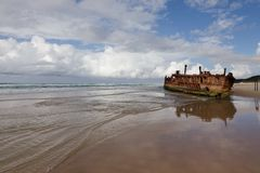 Shipwreck at Fraser Island Australia royalty free stock photo
