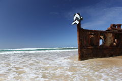 The Maheno shipwreck, Fraser Island, Queensland, Australia royalty free stock image