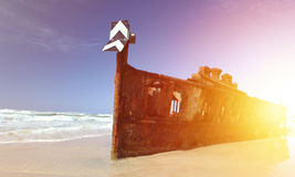 The Maheno shipwreck, Fraser Island, Queensland, Australia Royalty Free Stock Images