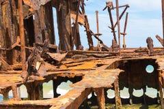 Maheno skeppsbrott på 75 mil strand, en av de populäraste gränsmärkena på Fraser Island Royaltyfri Bild