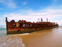 The Maheno wreck. On Fraser Island, the world largest sand Island (Australia Royalty Free Stock Images