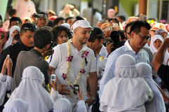Maher Zain in Surabaya. Singer religious origin sweden, maher zain ( cap white ) while visiting education foundation khadijah, surabaya jatim, october 2, 2012 Royalty Free Stock Images