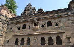 Historic  Maheshwar Fort and Temple Stock Images