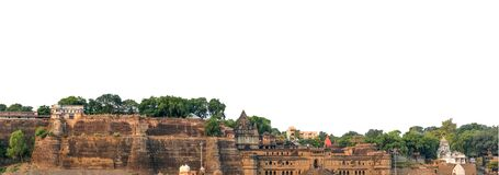 Maheshwar isolated on white background. It is a town in Khargone district of Madhya Pradesh state, in central India.