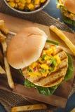 Mahi Fish Sandwich with Salsa Stock Photos