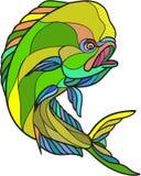 Mahi-Mahi Dorado Dolphin Fish Drawing. Drawing sketch style illustration of a dorado dolphin fish mahi-mahi jumping on isolated white background Royalty Free Stock Photography